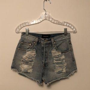 MinkPink high waisted denim slasher shorts!